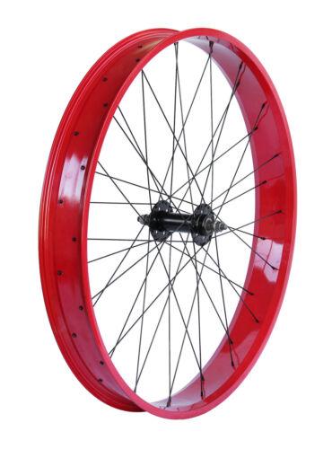 """Micargi Slugo 26/""""x 4.0 Bicycle front Fat Wheel Disc Brake Black Red Green Polish"""