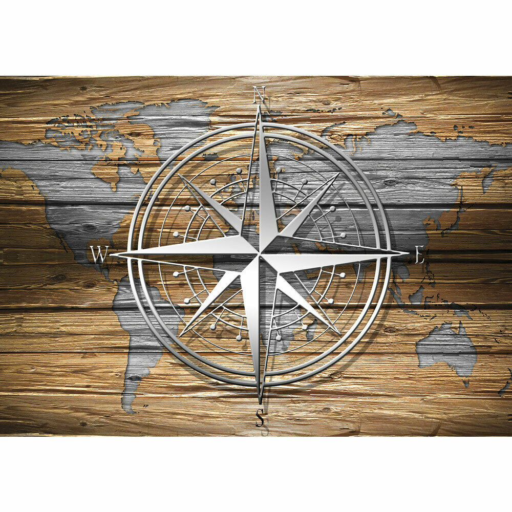 Fototapete Holz Holzoptik Welt Kontinente Kompass liwwing no. 2699