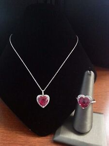 STERLING-SILVER-925-HEART-SHAPE-RUBY-RED-STONE-NECKLACE-amp-RING-SET