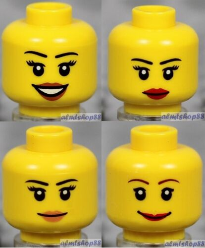 LEGO 4x Female Heads Lot Yellow Lips Red Peach Smile Faces Eyelashes City