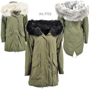 designer fashion eaa5f 8761a Dettagli su F732 Parka Giubbotto Giaccone Donna Invernale Pelliccia  Foderata Verde militare
