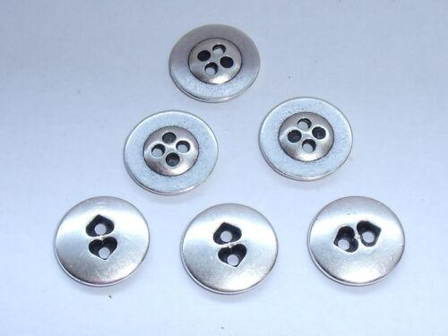10 Stück Metallknöpfe Trachtenknopf Knöpfe 12,5 mm altsilber  NEU rostfrei #074#