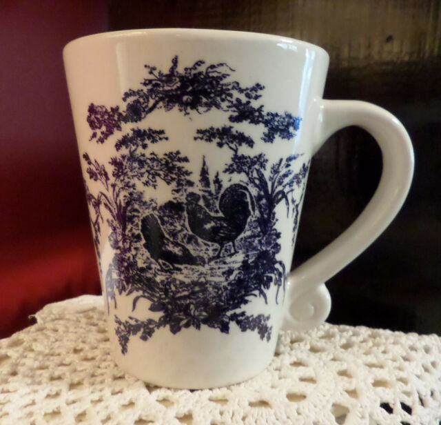 California Pantry 2002 Blue on White Rooster Oversized Coffee Cup Stoneware