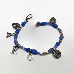 American-Eagle-Outfitters-Blue-Bead-amp-Silver-Tone-Charm-Bracelet