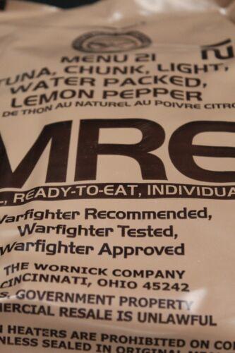 American MRE Menu 21 Lemon Poivre thon 2022 USA Authentique Armée Ration UP2.45