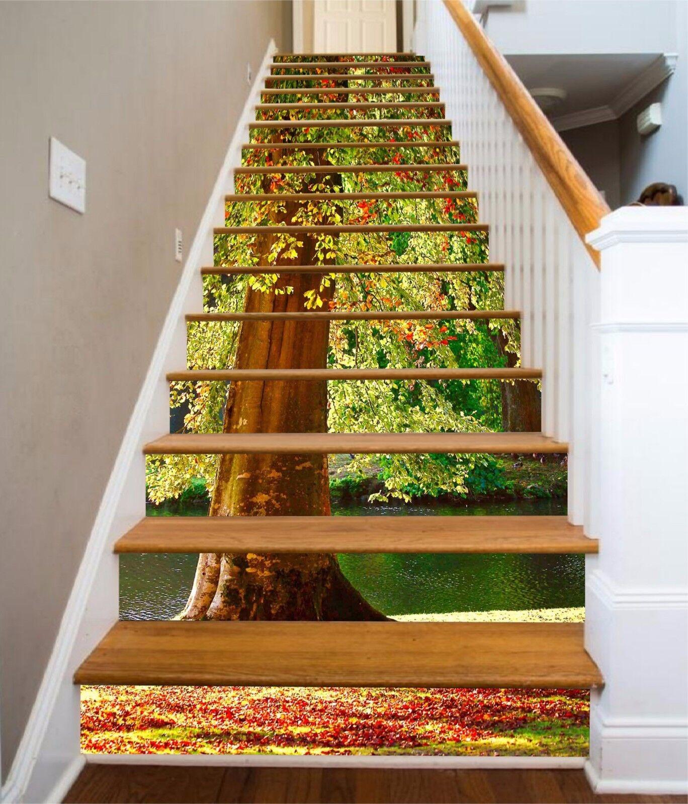 3D Beautiful Tree 7 Stair Risers Decoration Photo Mural Vinyl Decal Wallpaper UK