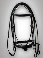 "BRIDLE BLACK / WHITE PADDED WITH RUBBER REIN, 1"" NOSE BAND IN FULL, COB, PONY"