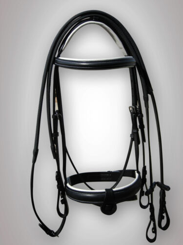 """BRIDLE BLACK / WHITE PADDED WITH RUBBER REIN, 1"""" NOSE BAND IN FULL, COB, PONY"""