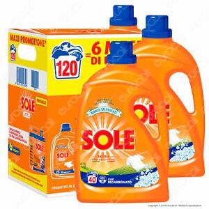 Detersivo Liquido Lavatrice 3 x 2000 ml - Sole Bianco Splendente 120 lavaggi