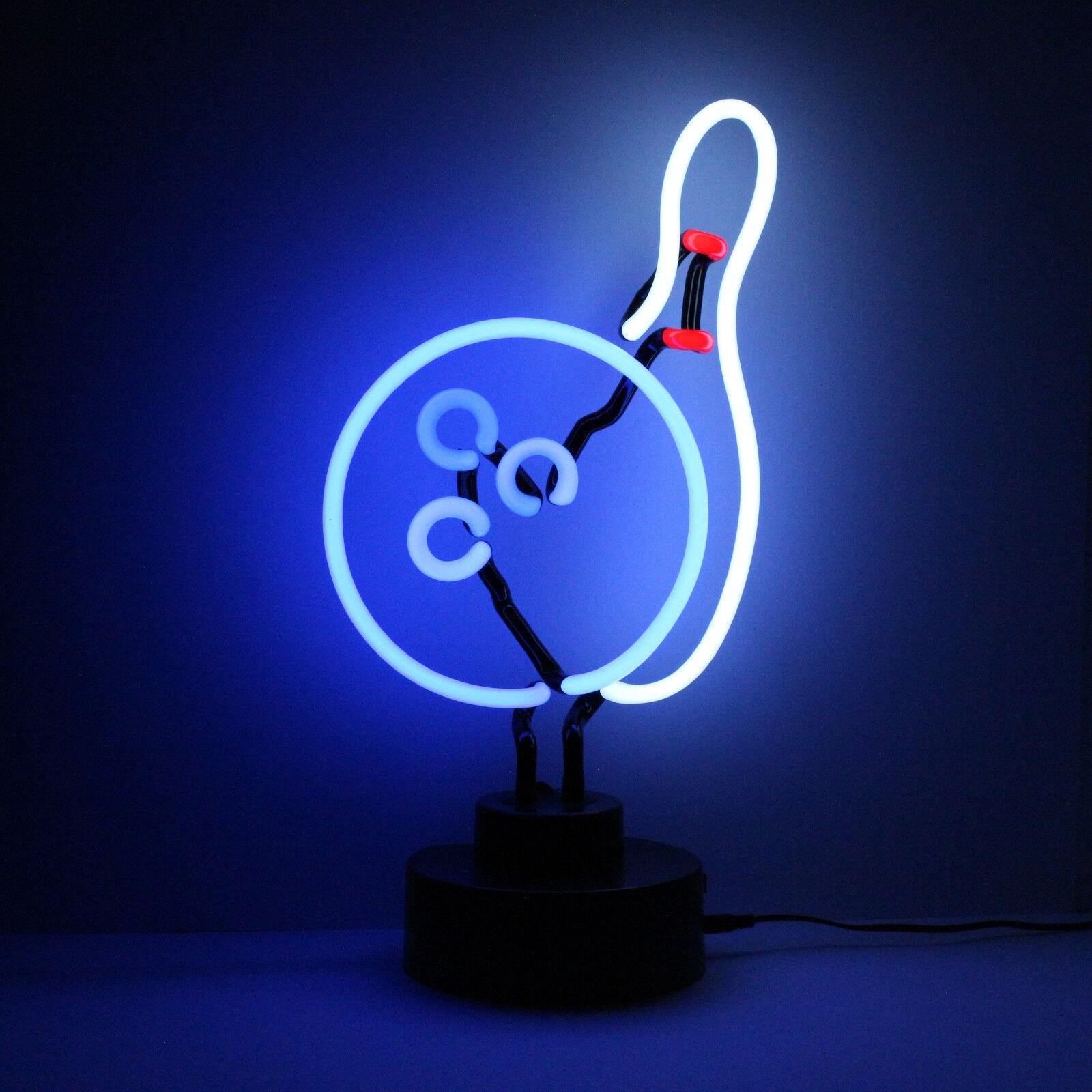 Neon BOWLING PIN and BALL Light Sculpture Table Shelf Reading Lamp Neonetics UK
