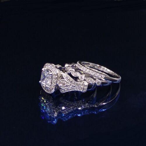 3.20 Ct White Cushion-Cut Diamond 3PCS Engagement Wedding Ring Set 925 Silver