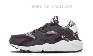 Nike Air Huarache Run Print Black Pure Platinum Girls Women Trainers (PTI)