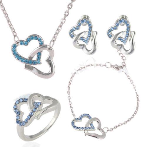 Double Heart Crystal Rhinestone Necklace Earrings Bracelet Ring Jewellery Set