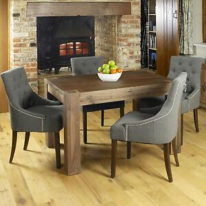 new arrivals 5bb8f 227b3 Details about Shiro solid walnut dark wood modern furniture dining table  and four chairs set