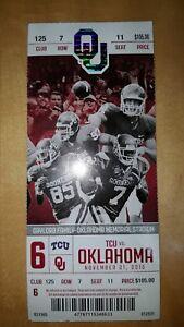 2015 OU Oklahoma Sooners vs TCU Collectible Ticket Stub ...