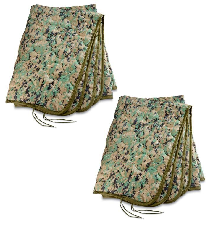 2 US Military Surplus Poncho Liner Blanket Woobie Ripstop Nylon Shell Polyester
