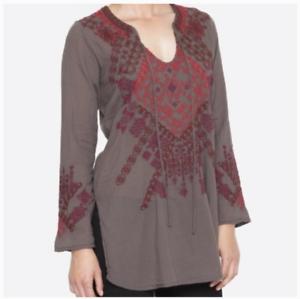 JOHNNY-WAS-Embroidered-BIYA-Tie-Neck-KHALLA-Blouse-Tunic-Gray-Cotton-220-M