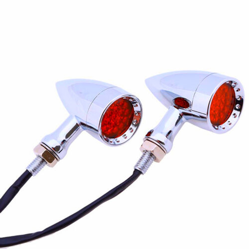 2xUniversal Motorcycle Red Color 20 LED Amber Turn Signal lights Rear Brake Lamp
