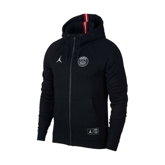 22d50b5a1e95 Nike Air Jordan PSG Wings Full-Zip Hoodie Size XL Black Paris Saint-Germain