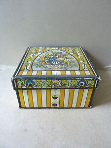 ancienne boite en carton ann es 20 art deco d cor rayures et fleurs stylis es ebay. Black Bedroom Furniture Sets. Home Design Ideas