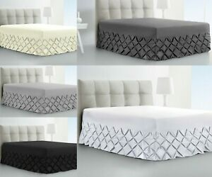 Fitted-Valance-Sheet-Cream-Charcoal-Pintuck-Bedding-Double-Single-Super-King