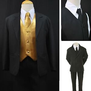 NEW BABY CHILDREN BOY FORMAL TUXEDO SUIT EXTRA FREE GOLD VEST SET 7PC SIZE:2T-14