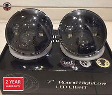 "Land Rover Defender 7"" LED headlights x2 E DOT Approved Td4 Td5 90 110 Black"