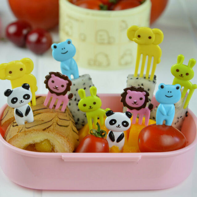 10pcs Kid Bento Cute Animal Food Fruit Pick Forks Lunch Box Accessory Decor Tool