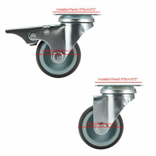 12er Ø50mm Lenkrollen Möbelrollen Apparaterollen Transportrollen mit Bremse 360°