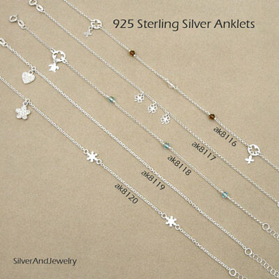 Sterling Silver Chain Anklets Charm Anklet Ankle Bracelet Collection#4 Consumers First Anklets Jewelry & Watches