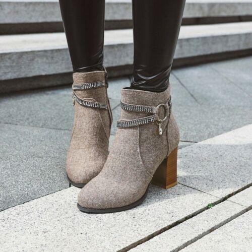 Details about  /Women Punk Buckle Strap Rhinestone Zip Up Block Heel Round Toe Ankle Boots 34-48