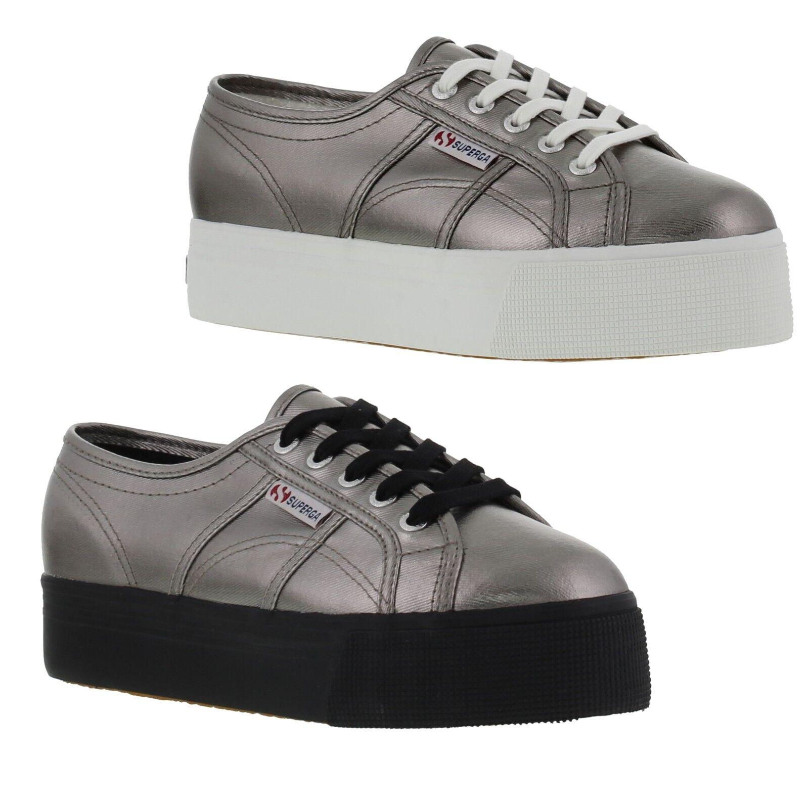Superga 2790 Cotmetu Femme Sliver Chunky Platform Trainers Chaussures