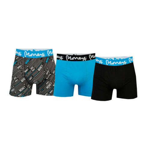 One Black One Mens Money Kagera 3 Pack Boxer Shorts In Black Blue One Blue