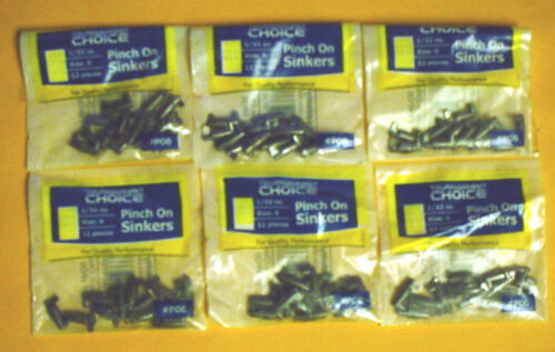 72 TOURNAMENT CHOICE 1//32 OZ PINCH ON SINKERS 6 PACKS OF 12