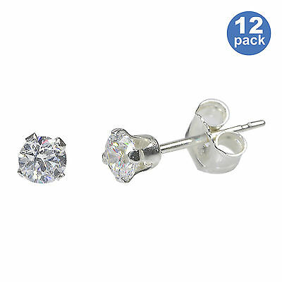 Wholesale Earrings Sterling Silver 12 PAIRS OF 3MM CZ Studs - Bulk Packed