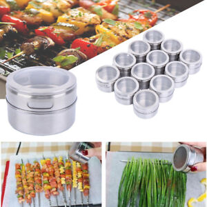 12pcs-Magnetic-Spice-Stainless-Steel-Tins-Round-Storage-Container-Jars-Clear-Lid
