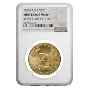 1988-1-oz-50-Gold-American-Eagle-NGC-MS-69-Mint-Error-Rev-Struck-Thru