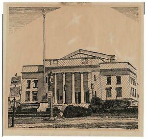 Details about 1955 Original Pen & Ink Drawing Trenton NJ War Memorial  Building by Alex Price