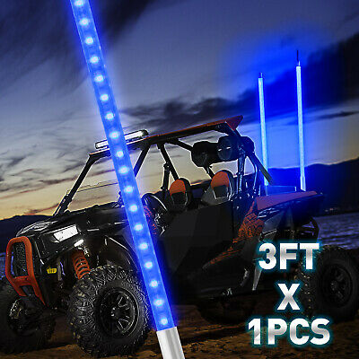 2PCS 3ft Lighted Antenna LED Whip Light Flag for ATV Polaris RZR 4 Wheeler UTV