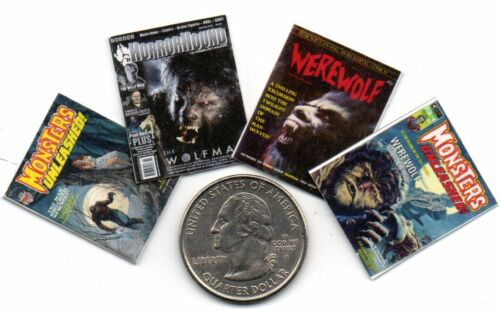 4 Mini Halloween  /'WEREWOLF/' Magazines Dollshouse 1:12 scale OPENING /& PAGES