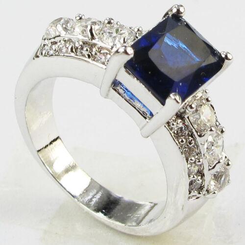 Magnifique Argent 925 Glod rempli SAPHIR 4 ct Argent Ring Taille 6-Taille 10 mariage