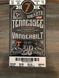 TENNESSEE VOLS vs VANDERBILT football full ticket November ...