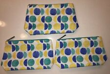 CLINIQUE yellow blue green circles MAKE-UP BAG cosmetic pouch case x lot 3 NEW