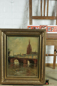 Carl-Dorrbecker-1894-1983-Oil-Painting-View-From-Frankfurt-At-Main-Old-Clamp-Dom