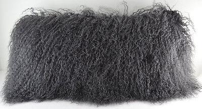 Real Dark Grey Mongolian Gray Tibetan Lamb Fur Pillow made in usa Tibet cushion