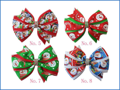 """30 BLESSING Girl 4.5/"""" Two Tone Wendy Hair Bow Clip Winter Halloween Christmas"""
