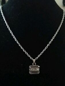 Small-Silver-Typewriter-Writer-039-s-Charm-Necklace-on-Silver-Chain-Poet