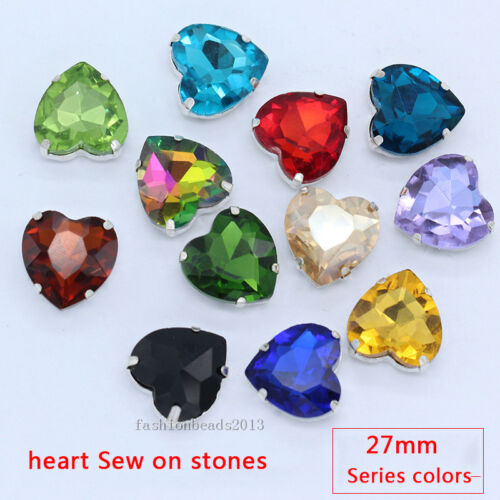 12pc crystal 27mm heart shape Sew On faceted glass rhinestones//stones//beads Y-pk