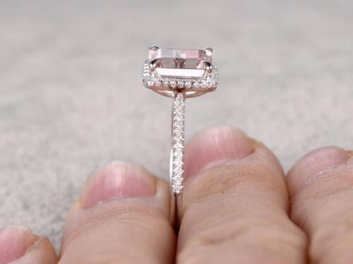 Rosa 3.20 CT Corte de La Esmeralda Diamante Anillo Nupcial Regalo De Oro Blanco Acabado