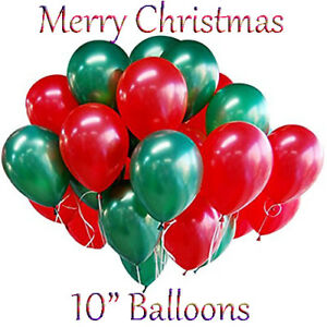 Merry Christmas Metallic Latex Balloons Green /& Red Xmas Decoration Pack 100